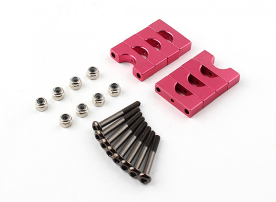 Red Anodized Double Sided CNC Aluminum Tube Clamp 8mm Diameter