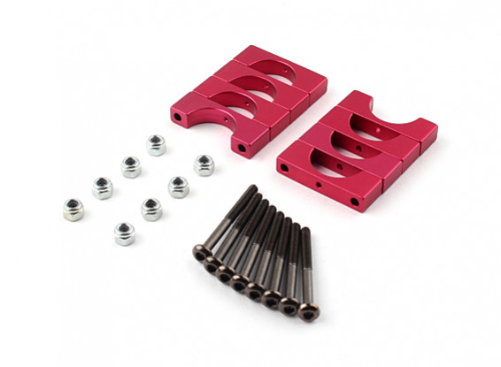 Red Anodized Double Sided CNC Aluminum Tube Clamp 14mm Diameter