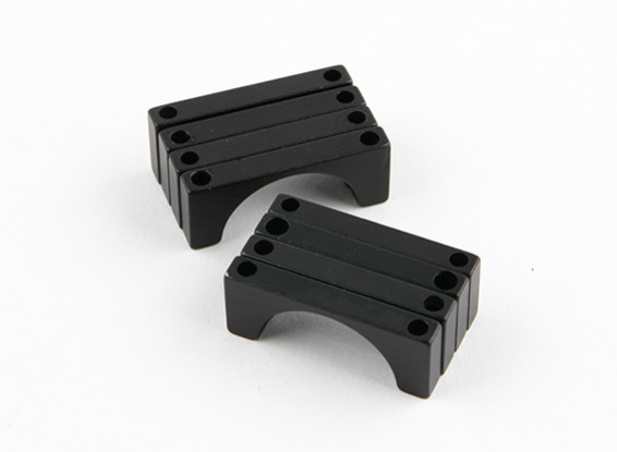 Black Anodized Double Sided CNC Aluminum Tube Clamp 22mm Diameter