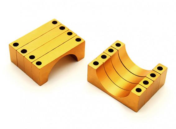 Gold Anodized CNC 6mm Aluminum Tube Clamp 20mm Diameter