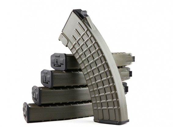 King Arms 600rounds Waffle Pattern magazines for Marui AK AEG (Olive Drab, 5pcs/ box)