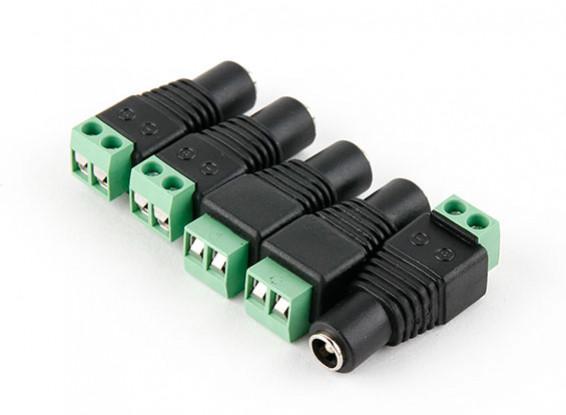 2.1mm DC Power Socket with Screw Terminal Block (5pcs)