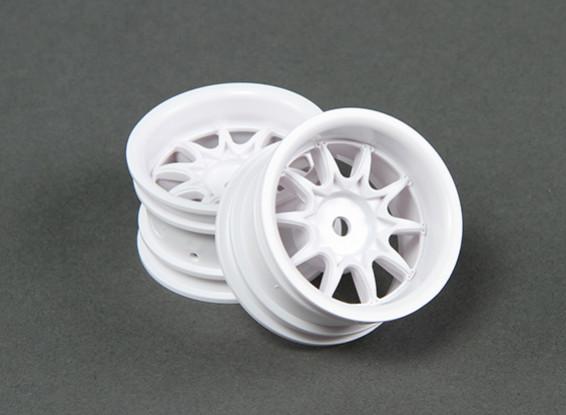 RiDE 1/10 Mini 10 Spoke Wheel 4mm Offset - White (2pcs)