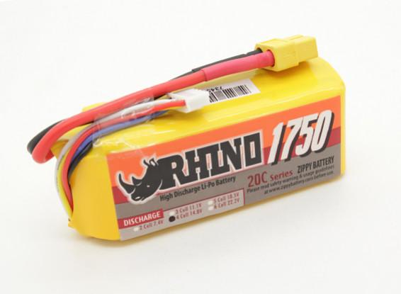 Rhino 1750mAh 4S 14.8v 20C Lipoly Pack