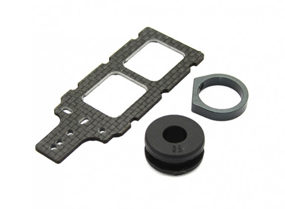 Carbon FPV Transmitter Mount with Rubber Damper Suits 8mm Booms