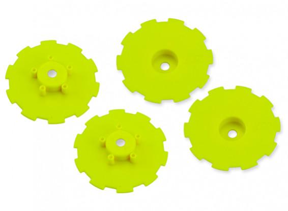 JCONCEPTS Hazard SC10 / SC10 4x4 Wheel Dish - Yellow - 4pc