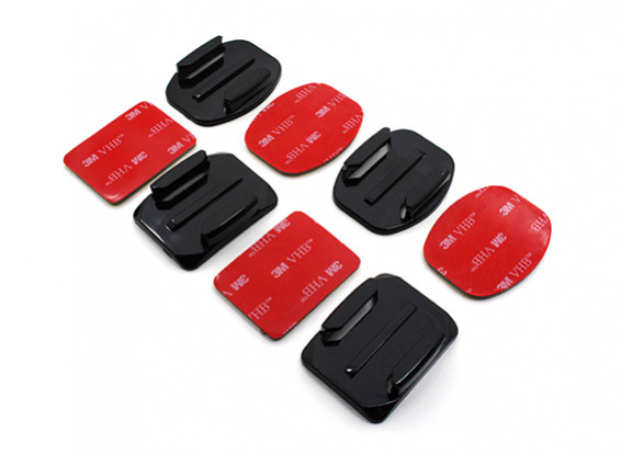 Flat Mounts and Curved Mounts with Self-Adhesive Pads for Turnigy Action Cam/GoPro (2 x Each)