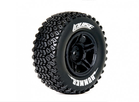 LOUISE SC-HUMMER 1/10 Scale Truck Rear Tires Soft Compound / Black Rim / Mounted