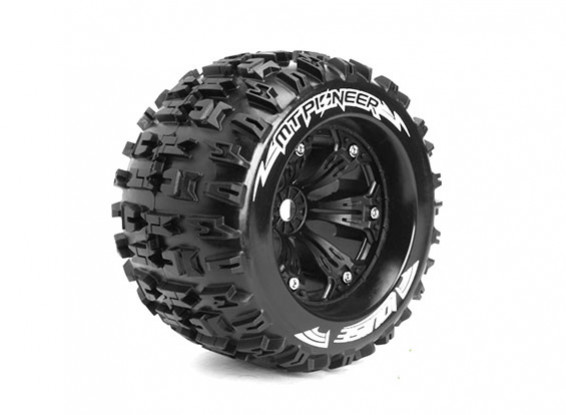 """LOUISE MT-PIONEER 1/8 Scale Traxxas Style Bead 3.8"""" Monster Truck SPORT Compound/Black Rim/1/2 O/set"""