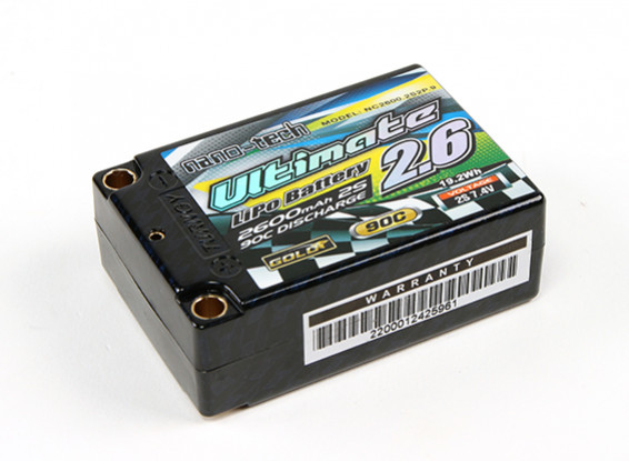 Turnigy nano-tech Ultimate 2600mah 2S2P 90C Hardcase Lipo Super Shorty Pack (ROAR and BRCA Approved)