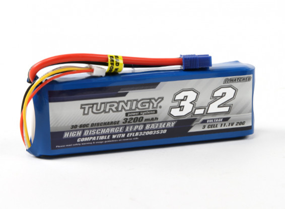 Turnigy 3200mAh 3S 30C LiPoly Pack w/ EC3 (E-flite Compatible EFLB32003S30)