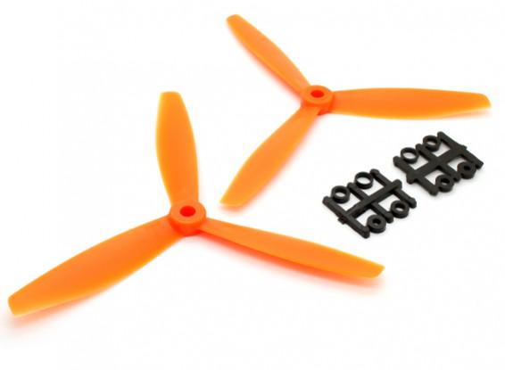 GemFan 6040 Plastic 3-Blade Propellers CW/CCW Set Orange (1 pair)