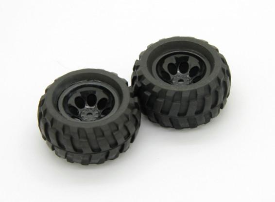 Pre-Glued Tire and Wheel Assembly (2pcs) - Basher RockSta 1/24 4WS Mini Rock Crawler