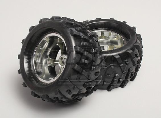 1/8 Monster Truck Wheel & Tyre 17mm Hex (2pc)