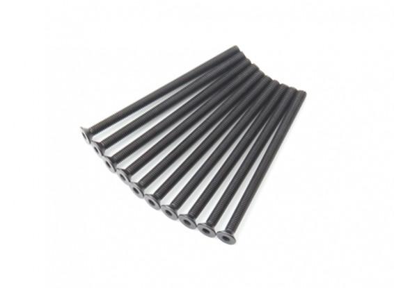 Screw Countersunk Hex M3x50mm Machine Thread Steel Black (10pcs)