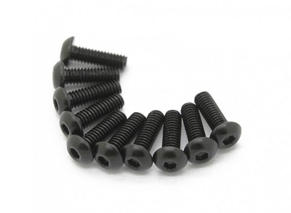 Screw Button Head Hex M3x5mm Machine Thread Steel Black (10pcs)