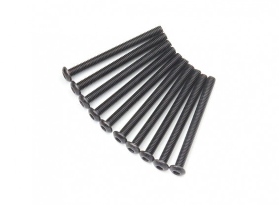 Screw Button Head Hex M3x34mm Machine Thread Steel Black (10pcs)