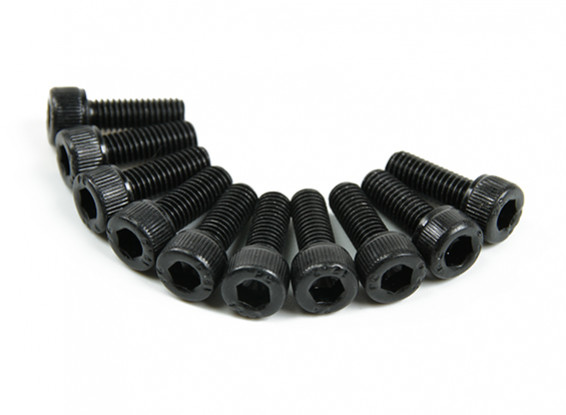 Screw Socket Head Hex M3x8mm Machine Thread Steel Black (10pcs)