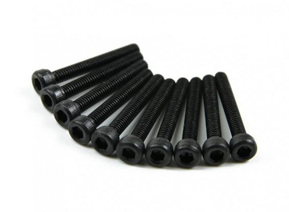 Screw Socket Head Hex M3x18mm Machine Thread Steel Black (10pcs)