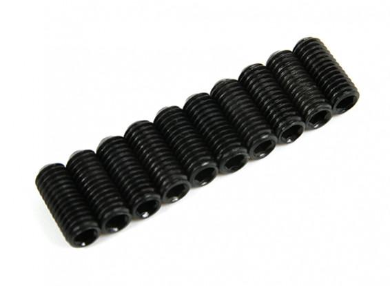 Screw Grub Hex M3x8mm Machine Thread Steel Black (10pcs)