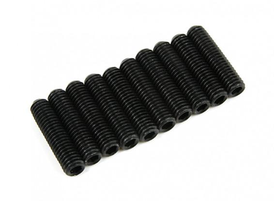Screw Grub Hex M3x14mm Machine Thread Steel Black (10pcs)