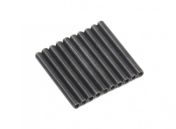 Screw Grub Hex M3x26mm Machine Thread Steel Black (10pcs)