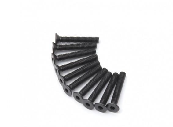 Screw Countersunk Hex M4 x 26mm Machine Steel Black (10pcs)
