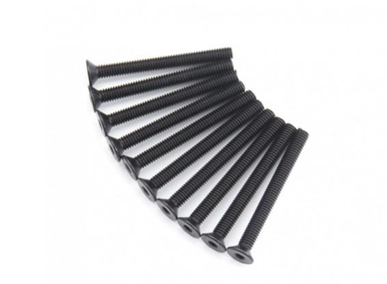 Screw Countersunk Hex M4 x 40mm Machine Steel Black (10pcs)