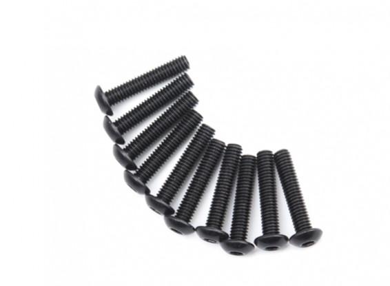 Screw Button Head Hex M4 x 20mm Machine Steel Black (10pcs)