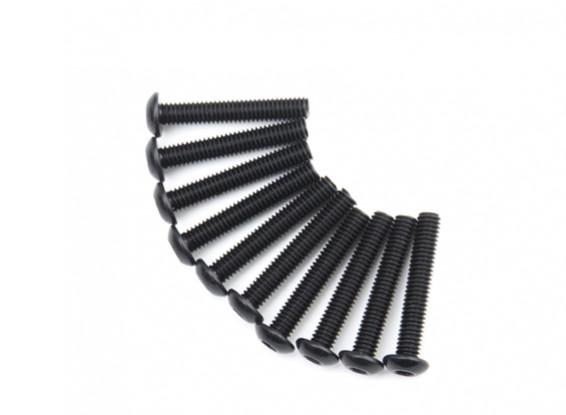 Screw Button Head Hex M4 x 24mm Machine Steel Black (10pcs)