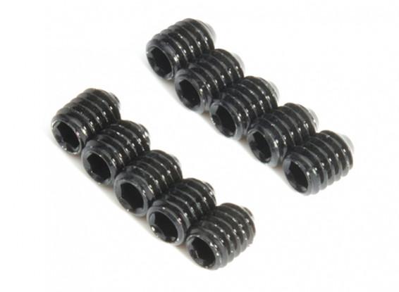 Screw Grub Hex M4 x 5mm Machine Steel Black (10pcs)