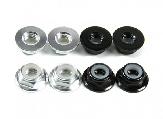 Aluminum Flange Low Profile Nyloc Nut M5 (4 Black CW & 4 Silver CCW)