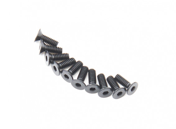 Screw Countersunk Hex M2 X 6mm Machine Steel Black (10pcs)