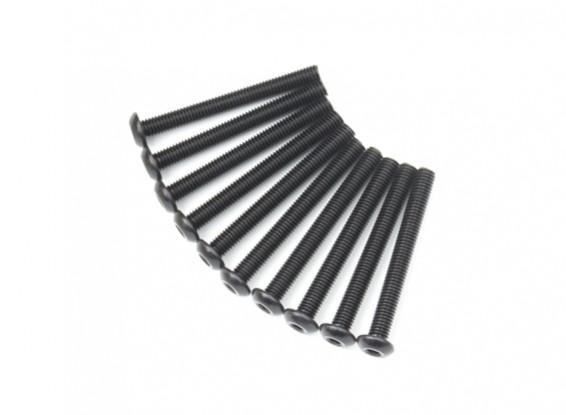 Screw Button Head Hex M5 x 45mm Machine Steel Black (10pcs)