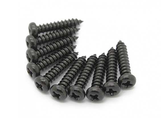 Screw Round Head Phillips M2.6x12mm Self Tapping Steel Black (10pcs)