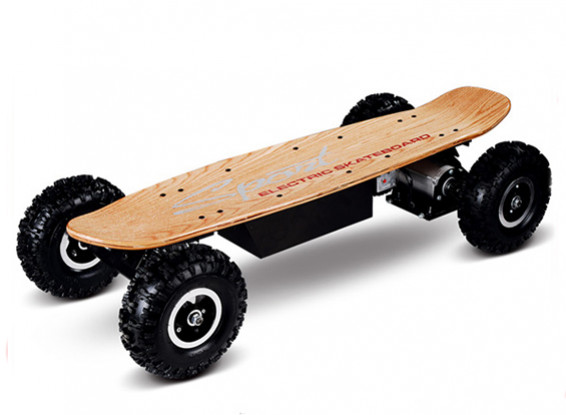 All-Terrain Electric Skateboard w/Radio System (Wood Finish) (UK Plug)