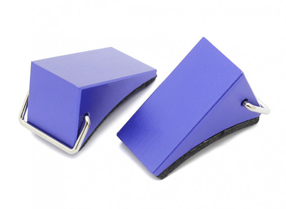 All Metal Wheel Chocks for 1/10 RC Scale Crawlers - Blue (Pair)