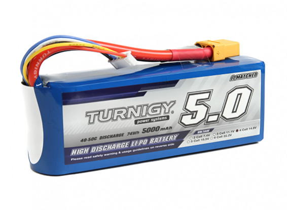 Turnigy 5000mAh 4S 40C Lipo Pack with XT90