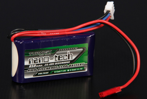 Turnigy nano-tech 850mah 2S 25~40C Lipo Pack w/ JST Connectors