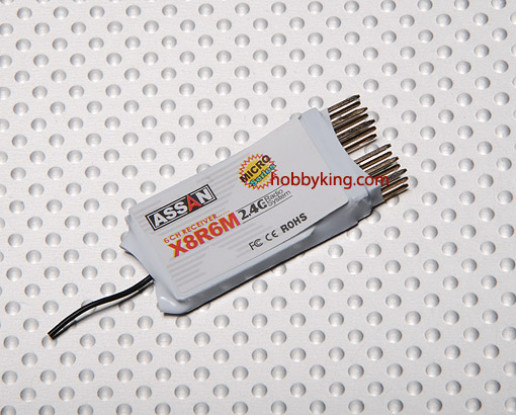 Assan X8 R6M 6Ch Micro 2.4GHz Receiver (Short Antenna)