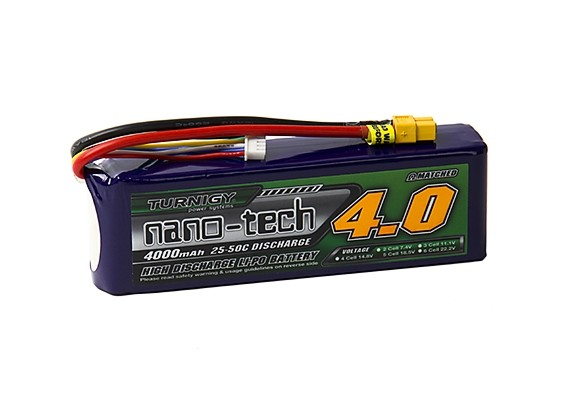 Turnigy nano-tech 4000mah 5S 25~50C Lipo Pack w/XT-60