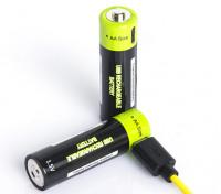 Znter 1.5V 1250mAh USB Rechargeable AA Size LiPoly Battery (2pcs)