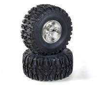 HobbyKing 1/10 Truck Rock Crawler 130mm Wheel & Tire (Silver Rim) (2pcs)