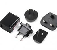 USB Power Supply 5v 2.5A with Interchangeable County Plugs (EU, US, UK, AU)