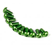 Screw Round Head Hex M3 x 6mm 7075 Aluminium Green (10pcs)