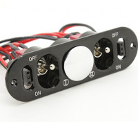 Medium Duty Double Futaba/JR Switch Harness with Built in Charging Sockets and Fuel Dot