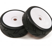 1/8 Scale White Pro Dish Wheels With Semi Slick Style Tyres (2pc)
