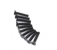 Screw Countersunk Hex M2.5 x 14mm Machine Thread Steel Black (10pcs)