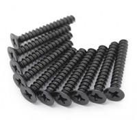 Screw Countersunk Hex M2.5 x 22mm Machine Thread Steel Black (10pcs)
