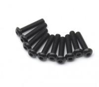 Screw Button Head Hex M2.5 x 12mm Machine Thread Steel Black (10pcs)